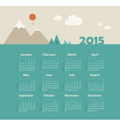 Calendar 2015 year with mountain landscape vector image