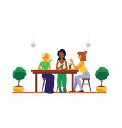 cartoon girl friends group sitting at cafe table vector image