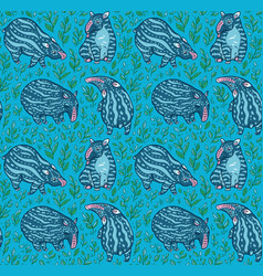 cartoon tapirs seamless pattern blue tapirs with vector image
