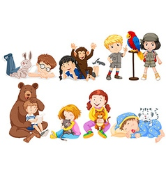Children and many kinds of pets vector