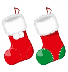 Christmas sock vector illustration vector image