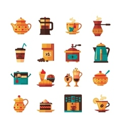 Coffee and tea set icons flat vector