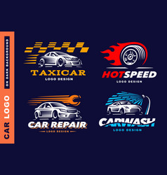 collection logos car taxi service wash vector image