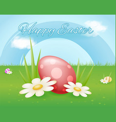 colorful painted easter egg on flower grass sky vector image