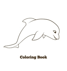 Coloring book dolphin cartoon educational vector image