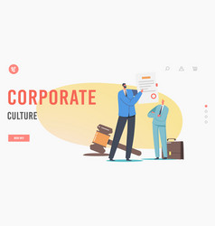 Corporate culture landing page template vector