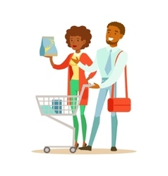 Couple with household chemisry cart shopping in vector
