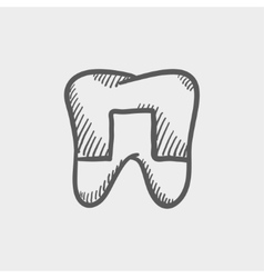 Crowned tooth sketch icon vector