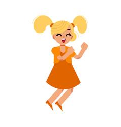 Cute blonde girl in dress dances vector