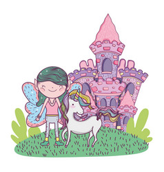 cute little fairy with castle and unicorn vector image