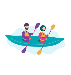 Cute modern young couple kayaking vector