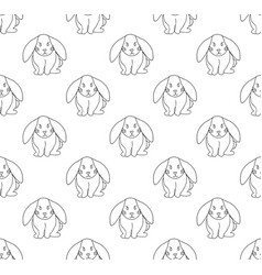 cute white rabbit seamless background vector image
