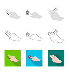 Design of touchscreen and hand sign set of vector