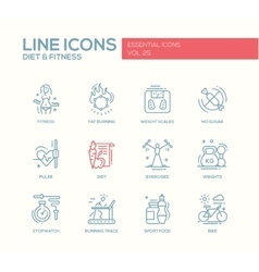 Diet and fitness - line design icons set vector image