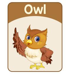 Educational english word card owl vector