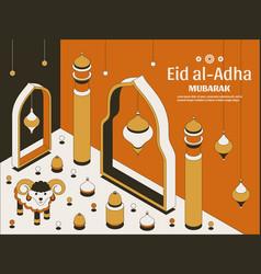 eid al adha background isometric islamic arabic vector image
