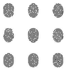 Fingerprint security access authorization icons vector