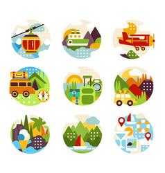 flat natural circle logo set with various vector image