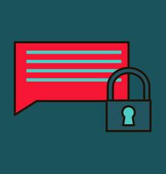 Flat spam outline symbol on background block vector