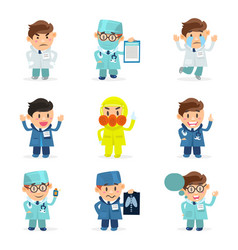 funny doctors characters set hospital medical vector image