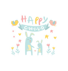 funny little bunny with mother blue ribbon birds vector image