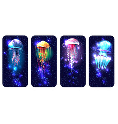 Glowing vivid jellyfish on underwater background vector