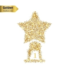 Gold glitter icon of statuette isolated on vector
