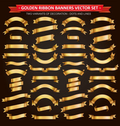 Golden ribbon banners collection vector