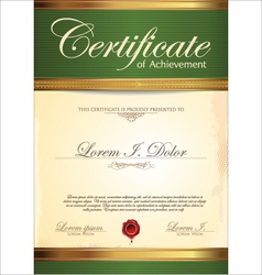 Green and gold certificate template vector