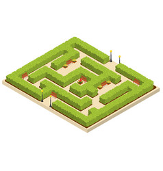 Green labyrinth garden isometric view vector