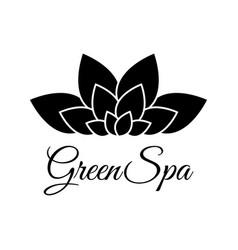 green spa leaf flower logo design template black vector image