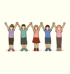group children holding hands cartoon vector image