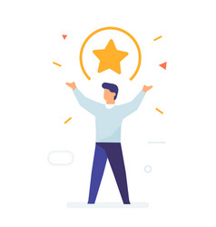Guy raises his hands a star above his head flat vector
