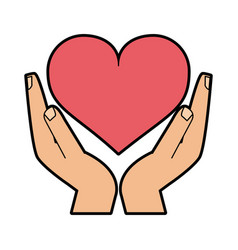 hand holding heart cartoon icon image vector image