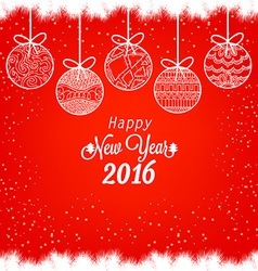 Happy New Year 2016 with christmas balls vector image