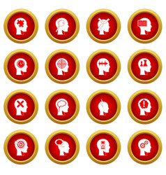 Head logos icon red circle set vector