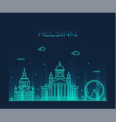 helsinki skyline finland city linear style vector image