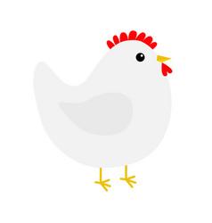 hen chicken bird icon happy easter cute cartoon vector image