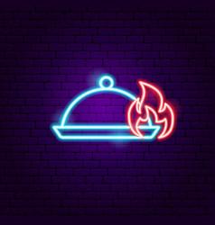 Hot menu neon sign vector