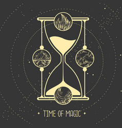 Hourglass and four elements vector