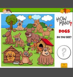 How many dogs educational task for kids vector
