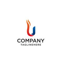 initial letter u fire logo design fire company vector image
