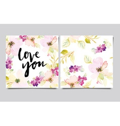 Invitation card with watercolor flowers Bridal vector