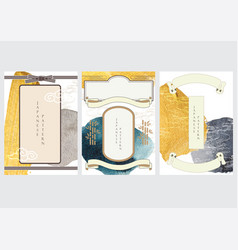 japanese template gold and black texture in vector image