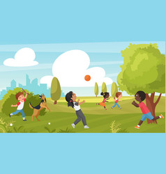 kid play in summer park outdoor sport activity in vector image