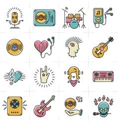 Line art music icons set rock punk jazz symbols vector