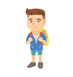 little caucasian sad schoolboy carrying a backpack vector image