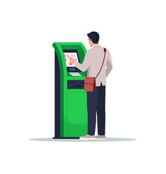 Man pay with atm semi flat rgb color vector