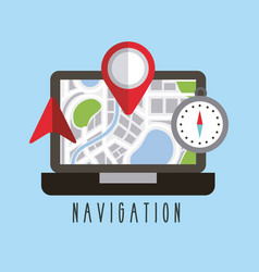 navigation laptop technology pointer compass arrow vector image
