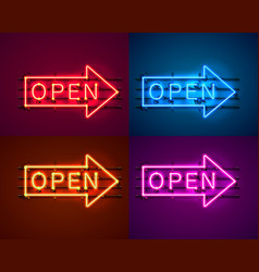 neon arrow sign with text open vector image